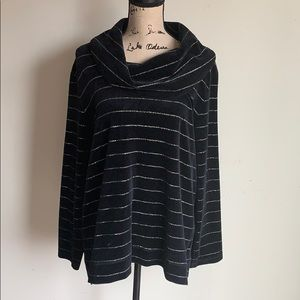 Talbots silver striped cowl neck sweater